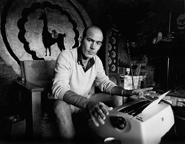 Hunter S Thompson working at his ranch circa 1976 near Aspen Colorado.