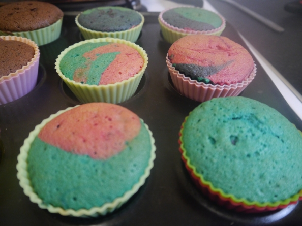 The colours are so vibrant It's tempting to leave the cakes looking like this.
